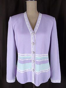 St. John Collection Light Purple Light Green Cardigan Sweater Pastel Easter Colors