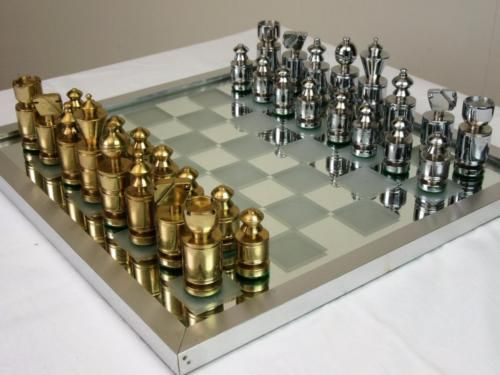 Steel Chess Set vintage #brass & stainless steel chess set k 75 mm + #mirrored