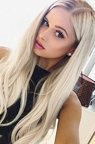 EEWIGS Blonde Perücken für Frauen Lace Front Perücken Synthetische Platinblond Dunkelbraun Root Ash Blonde - Spitze #ashblondebalayage