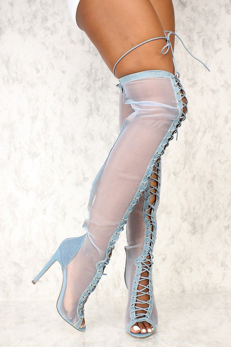 9d9086a6f797 Buy Sexy Denim Sheer Open Toe Lace Up Thigh High Heel Boots with cheap  price and high quality Boots stores which offers Boots