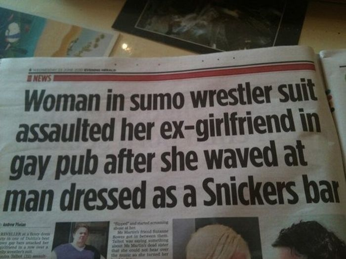 The newspaper of this headline was The Evening Herald. The pinner said it was the greatest newspaper headline ever written.