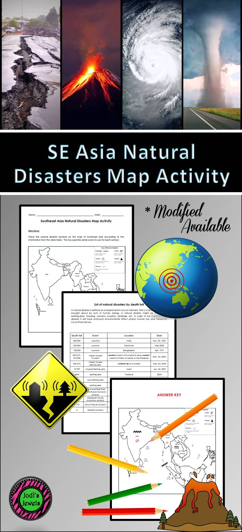 Add This Map Activity To Your Unit About Southeast Asia Students Will Place Natural Disaster Sy Elementary Science Activities Map Activities Natural Disasters [ 2112 x 960 Pixel ]