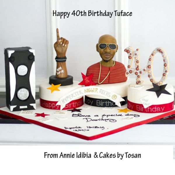 2Face Idibia is celebrating his 40th birthday party and the music star received the massive birthdaycake ever from his loving wife, Annie. The cake was created by Yomi Black and Annie Idibia. The cake was made by Cakes by Tosan for 2Face.