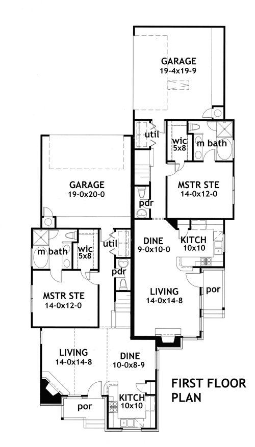 Due Volte Casa 1902 3 Bedrooms And 2 Baths The House Designers Duplex Floor Plans Duplex Plans Duplex House Plans