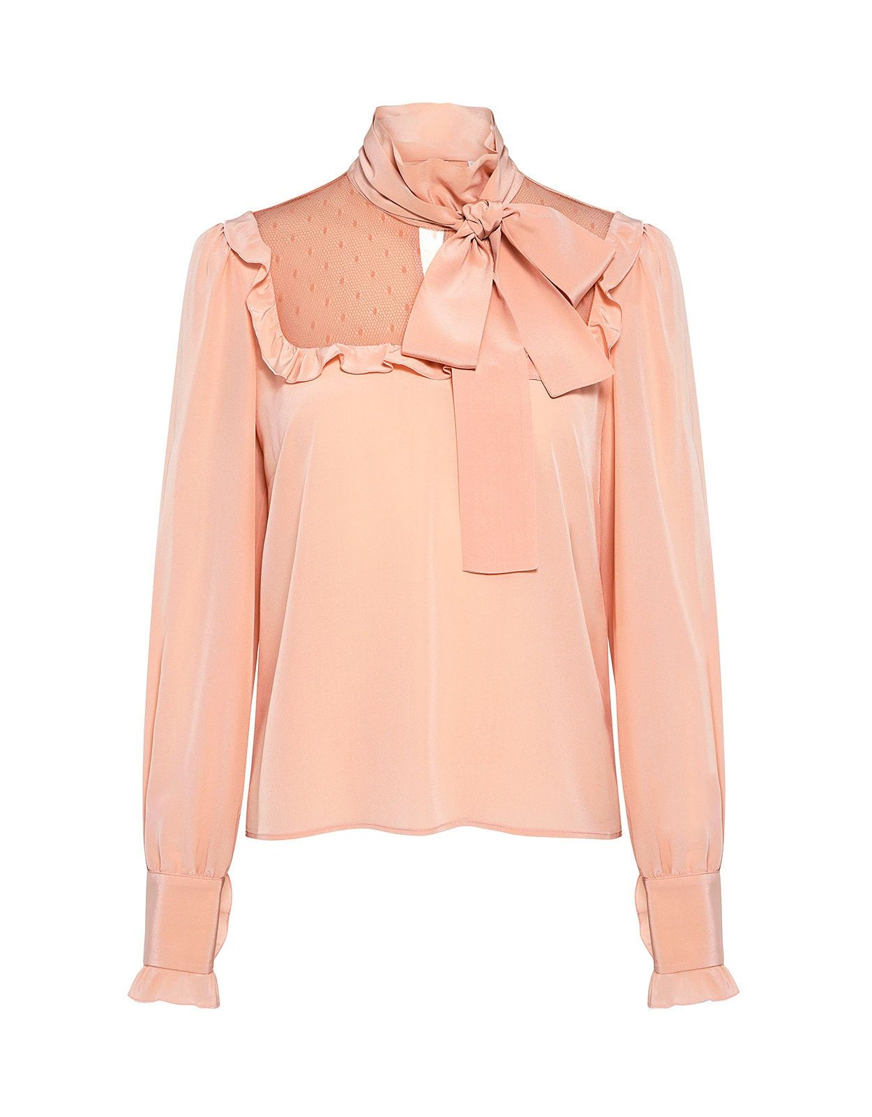 Red Valentino Ruffle Lace Tie-Neck Blouse