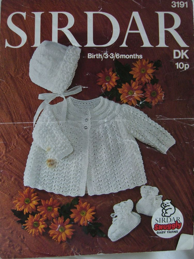 e7c9ced295a7 Vintage Sirdar DK baby knitting pattern birth to 6 months