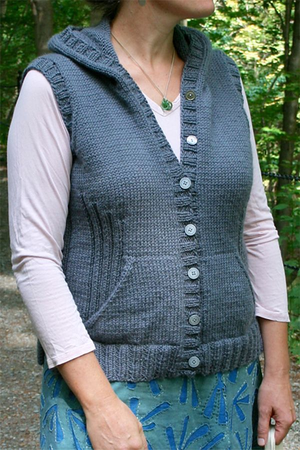 Free Knitting Pattern for Viatori Hooded Vest - Fitted sleeveless ...