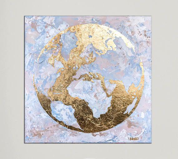 World map globe gold leaf original abstract painting acrylic my world map globe gold leaf original abstract painting acrylic gumiabroncs Choice Image