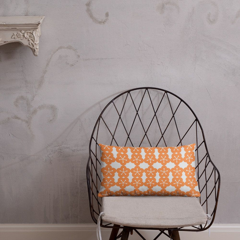 Cute reversible double sided orange flower pink leaf print cushion 20x 12 Nordic style/wedding anniversary gift mothers valentines day teen