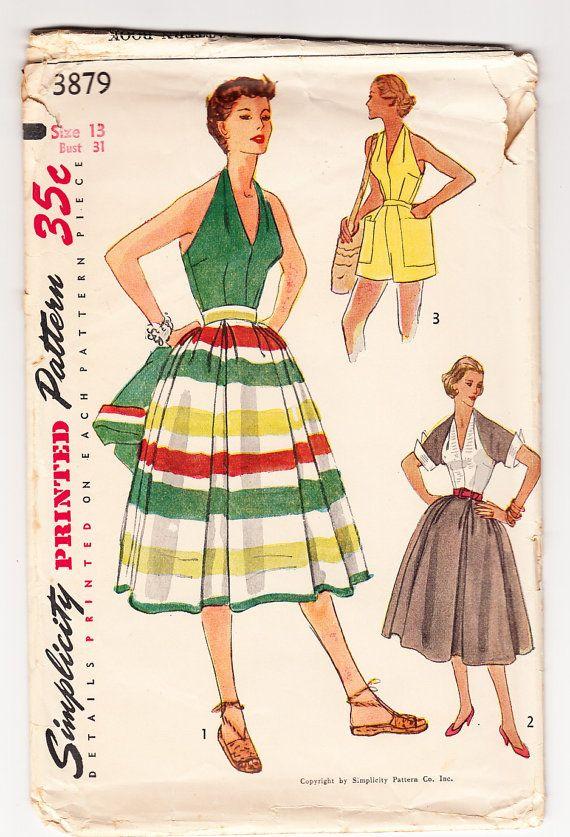 Vintage 1952 Simplicity 3879 Sewing Pattern Misses\' Skirt, Halter ...