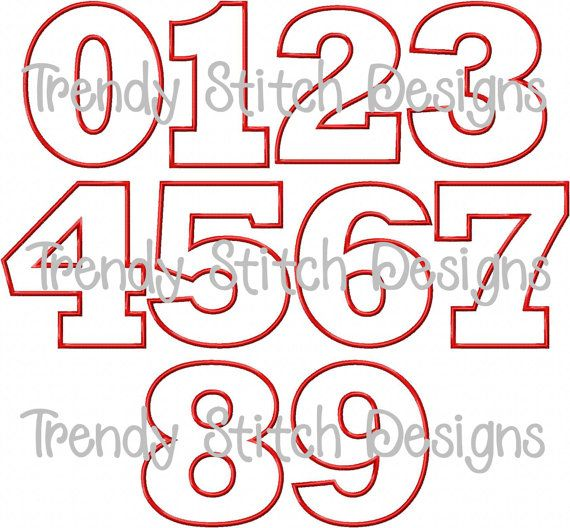 Birthday Numbers Applique Design Machine Embroidery Font BLOCK ...