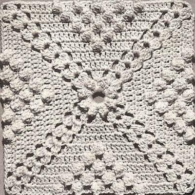 Vintage Crochet PATTERN to make Popcorn & Cluster Design Motif Block ...