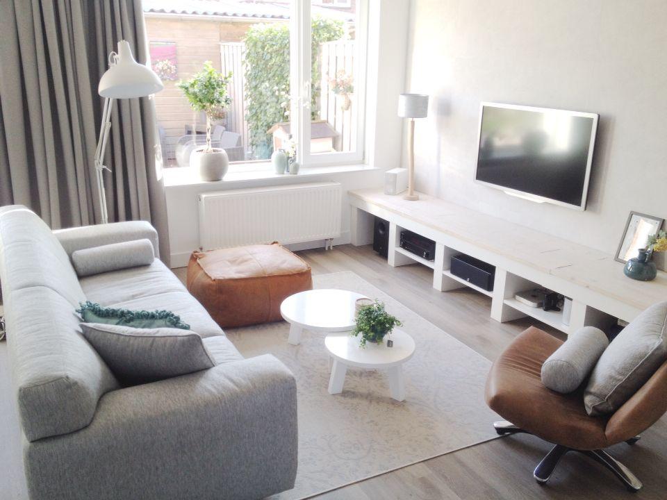 Woonkamer grijs cognac en beige  Living Rooms in 2019
