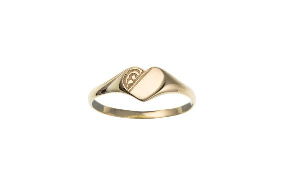 9ct Yellow Gold Half Engraved Heart Signet Ring Ladies And Etsy Signet Ring Jewelry Rings Engagement Gold