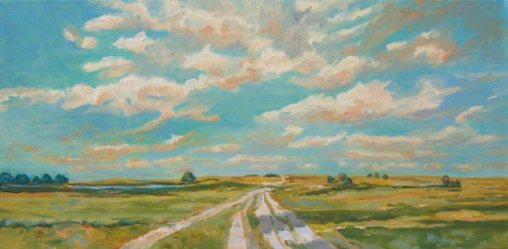 Hays Original Impressionist Landscape Oil Painting Clouds Prairie Road Grass Impressionism Oil Painting Landscape Impressionist Landscape Cloud Painting