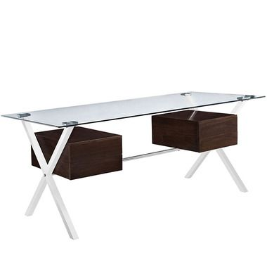 abeyance glass top stainless steel legs storage drawers office desk in walnut