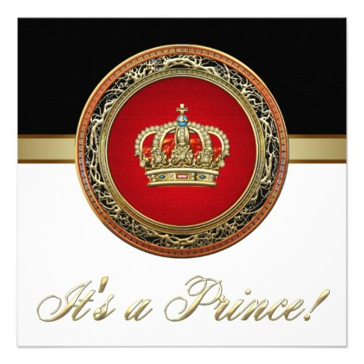 Regal Red and Gold Prince Baby Shower Announcement