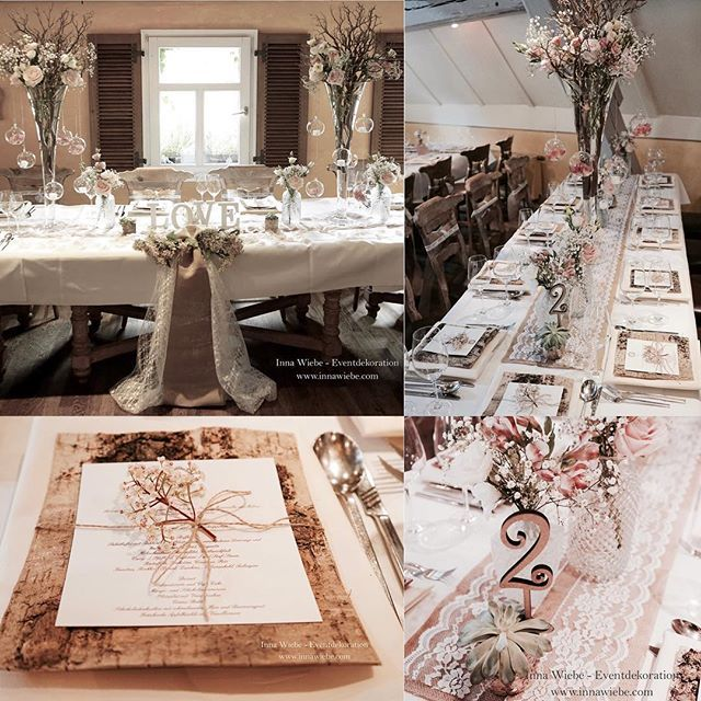 Vintage Hochzeit By Inna Wiebe Eventdekoration Www Innawiebe Com Vintage Hochzeit Love Munchen Holz Jute Spitz Table Decorations Table Settings Decor