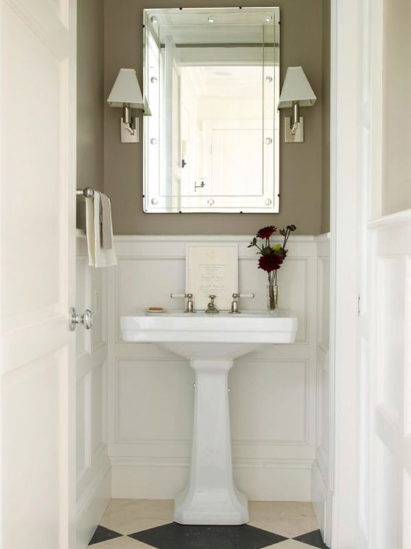 Powder Bathroom Bath Small Wallpaper Pedestal Sink Stylish Sconces Wall Lighting Unique Mirror Vero Beach Interior D