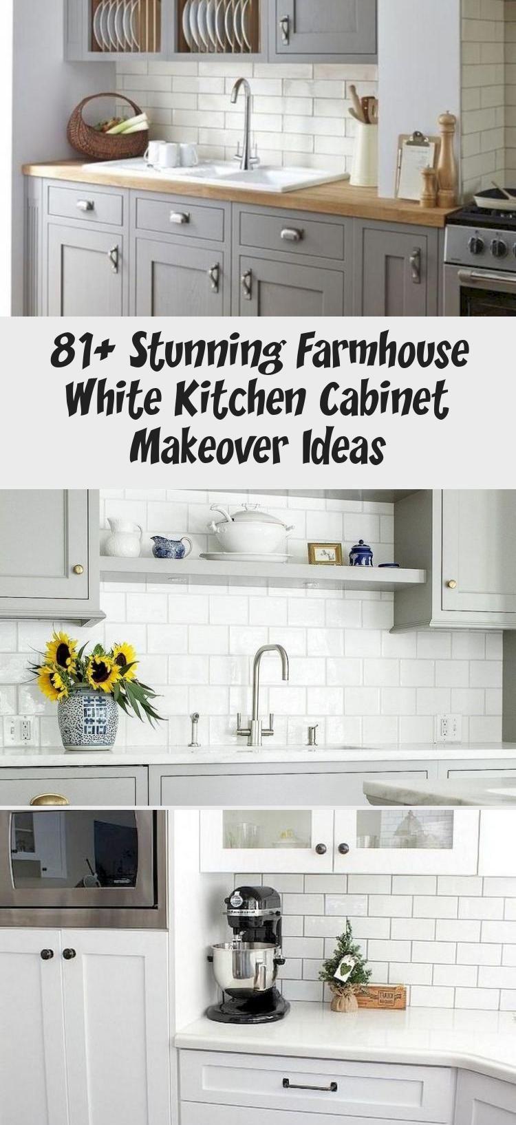 9+ Stunning Farmhouse White Kitchen Cabinet Makeover Ideas ...