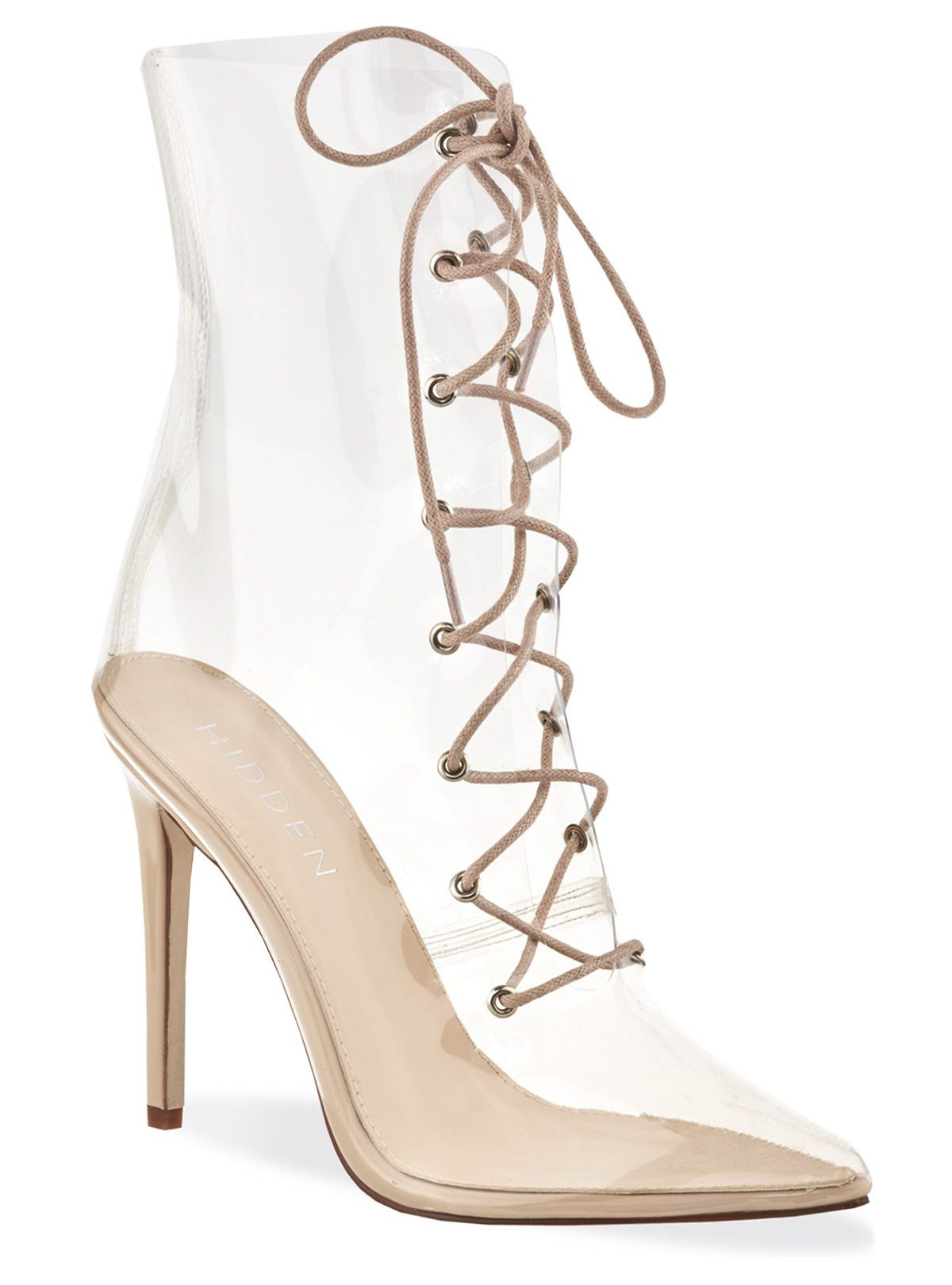 a7f8822d60 Clear Perspex & Patent Nude Pointed Stiletto Boots | PERSPEX ...