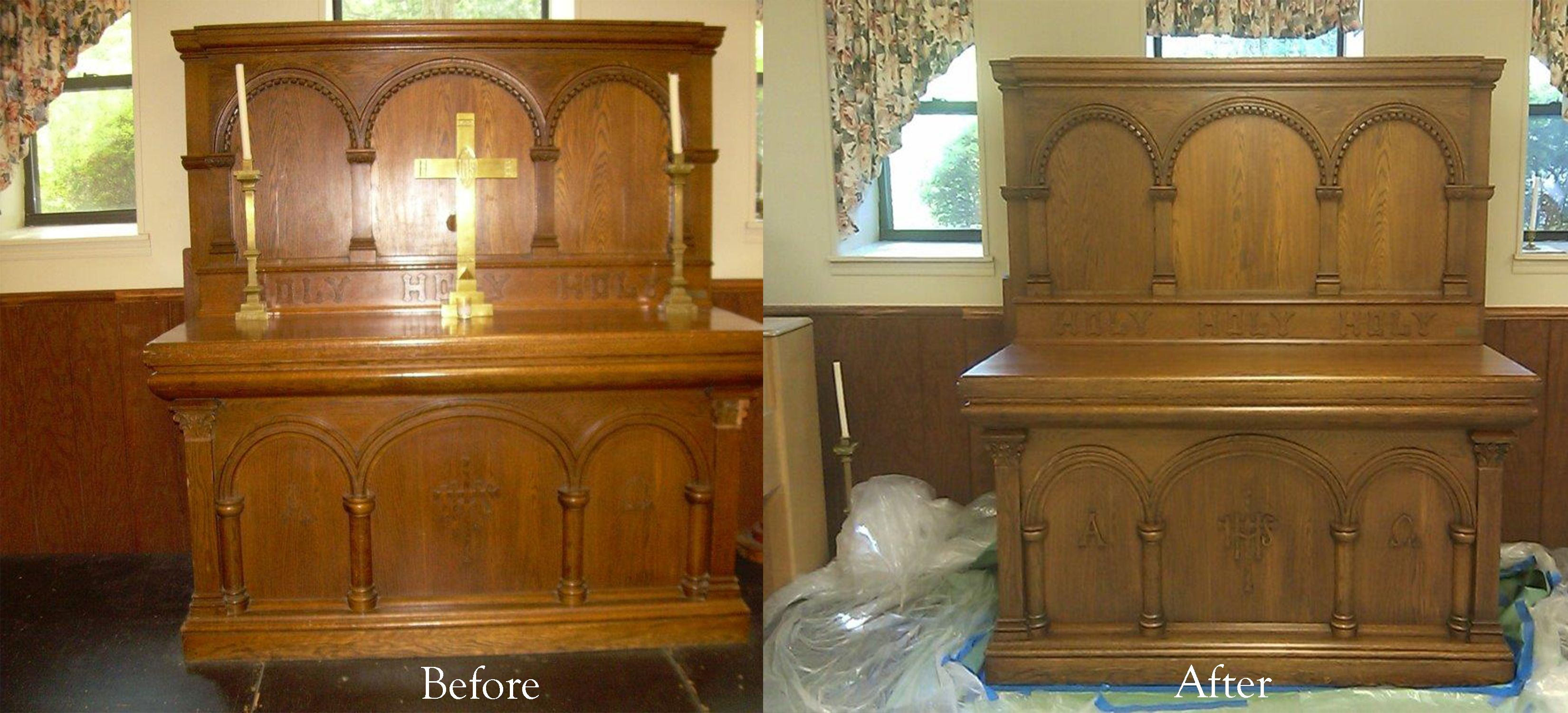 Before and after photos from Good Shepherd in Pearl River, NY. Work performed by Furniture Medic by WoodLord Restorations.