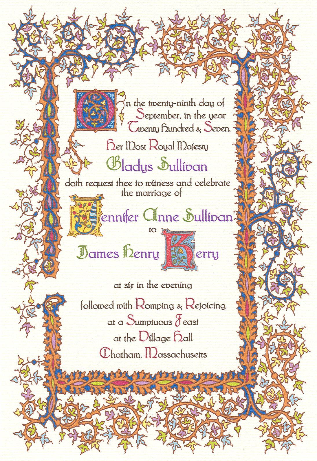 medieval wedding invitations - 736×1067