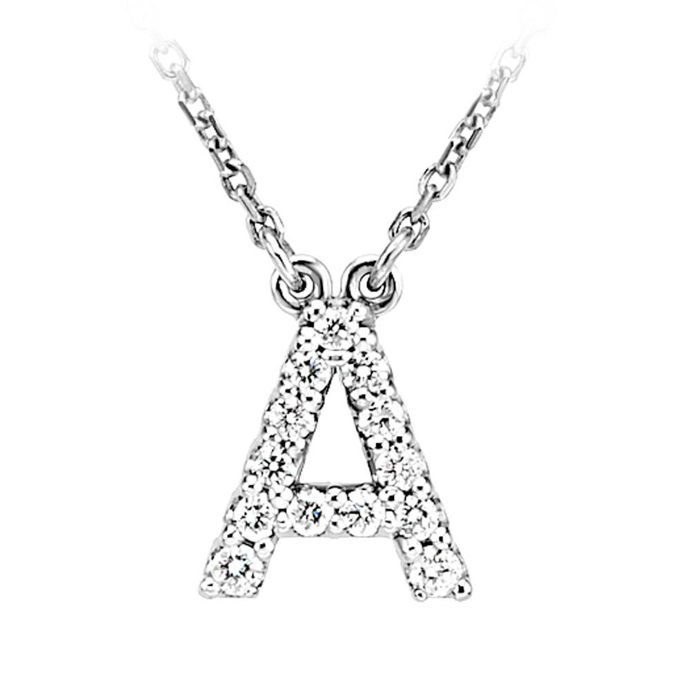 .14 Cttw G-H, I1 Diamond initial Necklace in 14k White