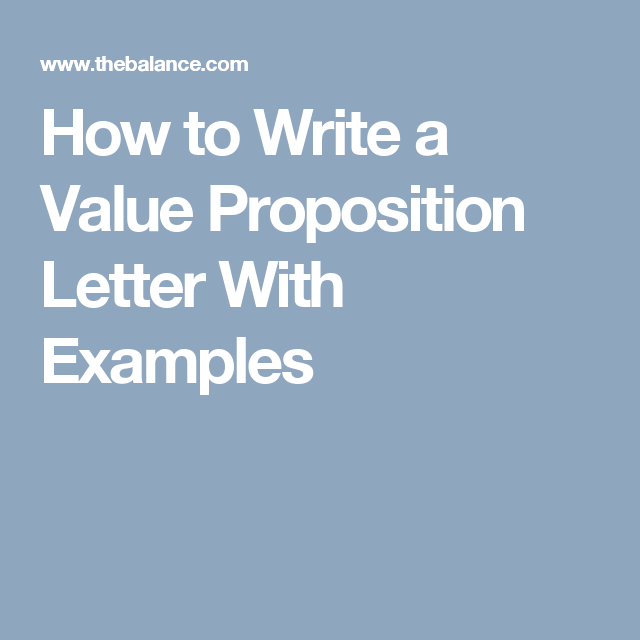 Here Are Personal Value Proposition Statement Letter Examples ...