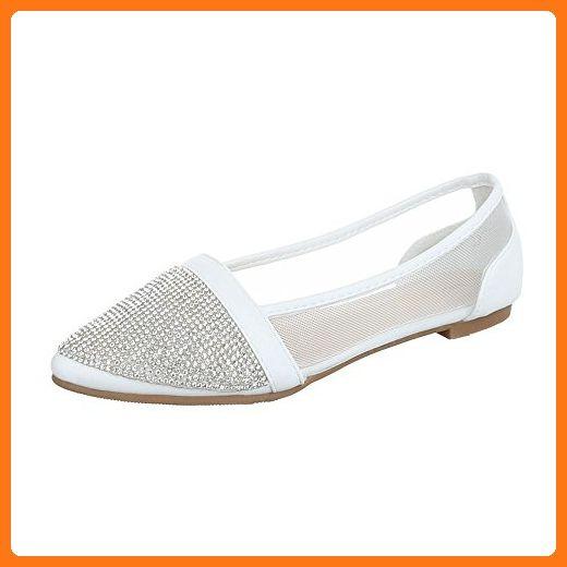 aa9ea948565f16 Ballerinas Damen-Schuhe Geschlossen Blockabsatz Strass Besetzte Ital-Design  Ballerinas Weiß