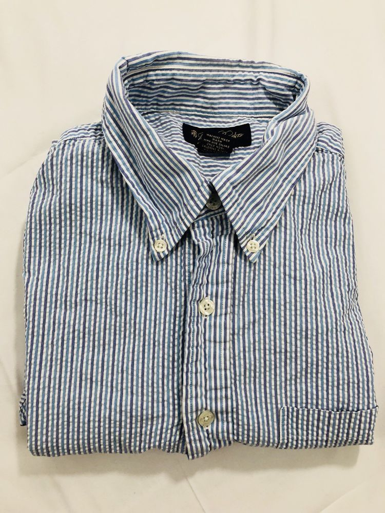 Brooks Brothers Men's Seersucker White Striped S/S Button Front Shirt - Size  L