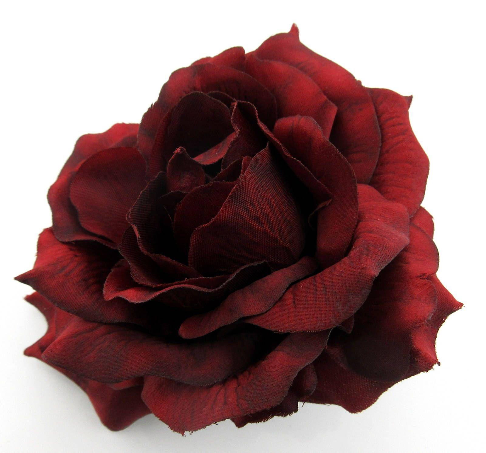 5.5 Deep Red Rose Poly Silk Flower Brooch Pin