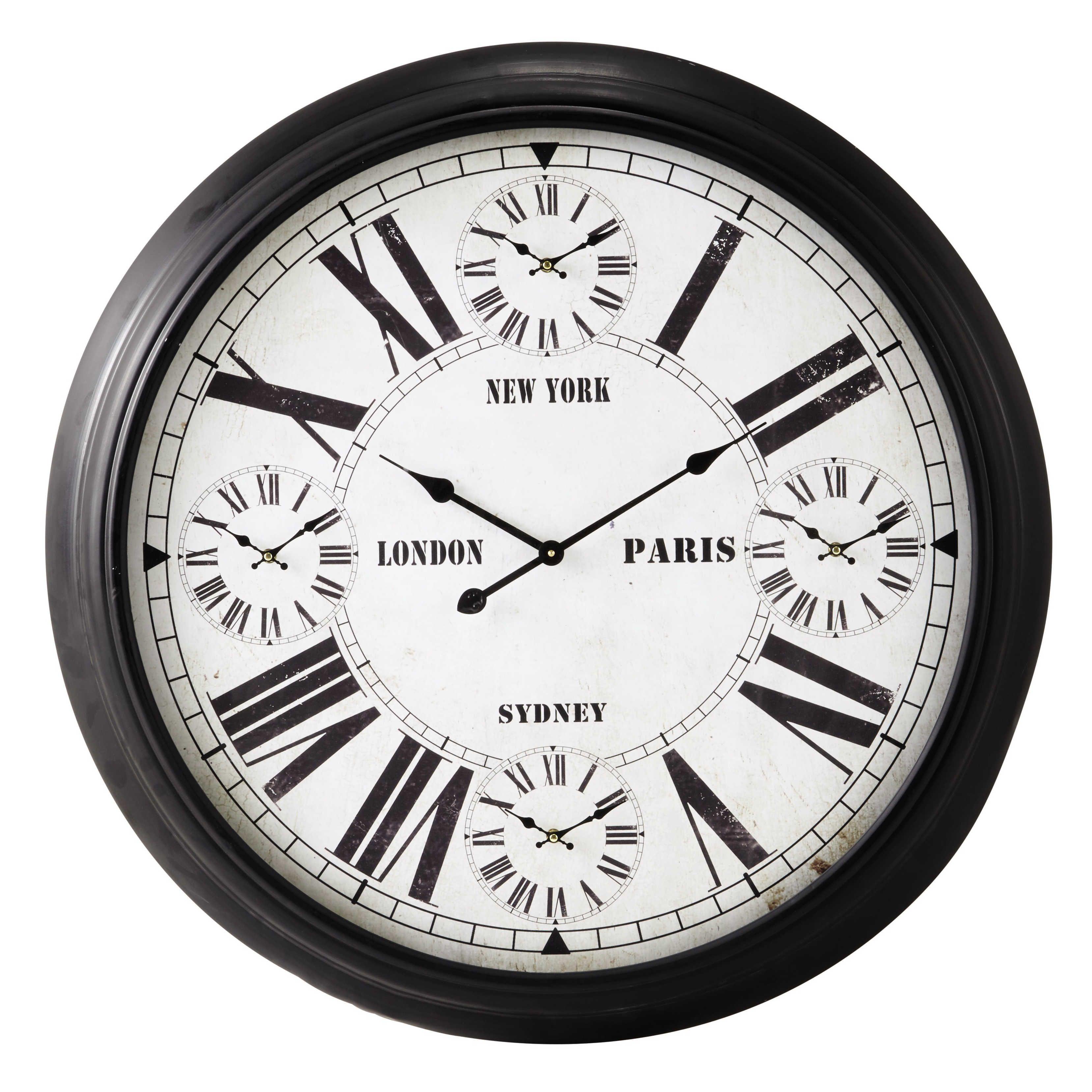 horloges en métal noires d 93 cm madison cuisine