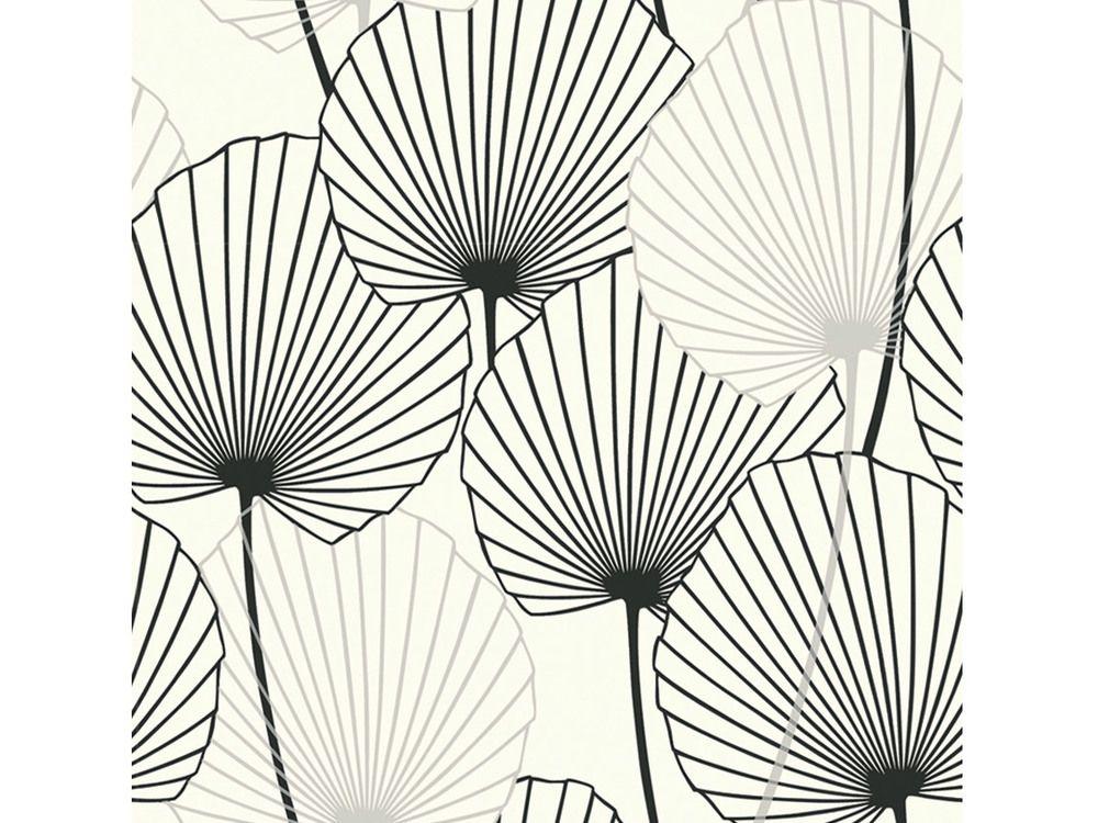 Papier Peint 100 Intisse Motif Feuille De Palmier Noir Sur Blanc
