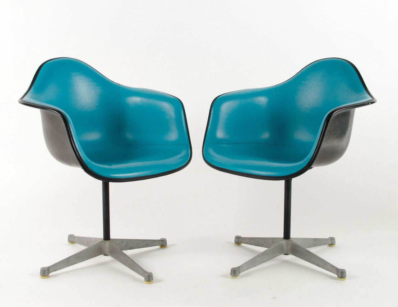 Charles Eames Herman Miller Pac Turquoise Arm Shell Chairs