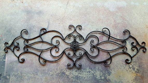 This Beautiful Ornate Metal Wall Decor Would Be A Great Headboard Or Be A Great Addition To Any Indoor Wrought Iron Wall Decor Black Wall Decor Metal Headboard