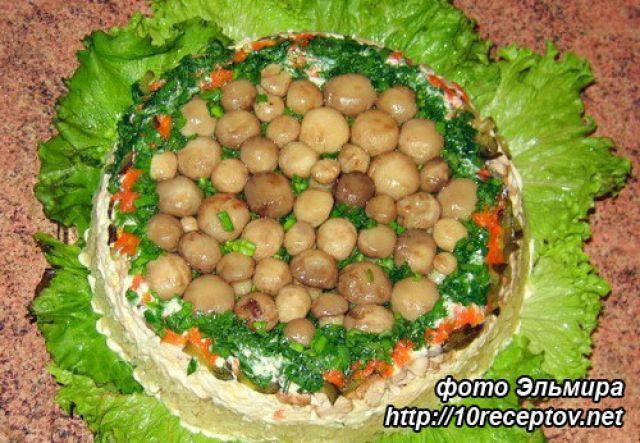 Салат копченый окорочок грибы блинчики
