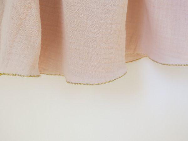 Jupe rose poudrée en double gaze de coton