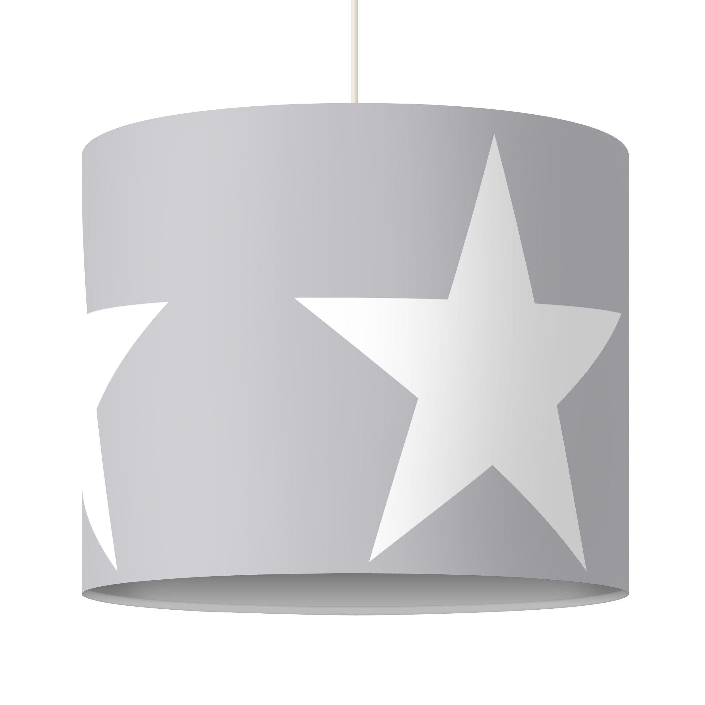 pendelleuchte gro e wei e sterne auf grau lampe lampenschirm grau wei pinterest. Black Bedroom Furniture Sets. Home Design Ideas