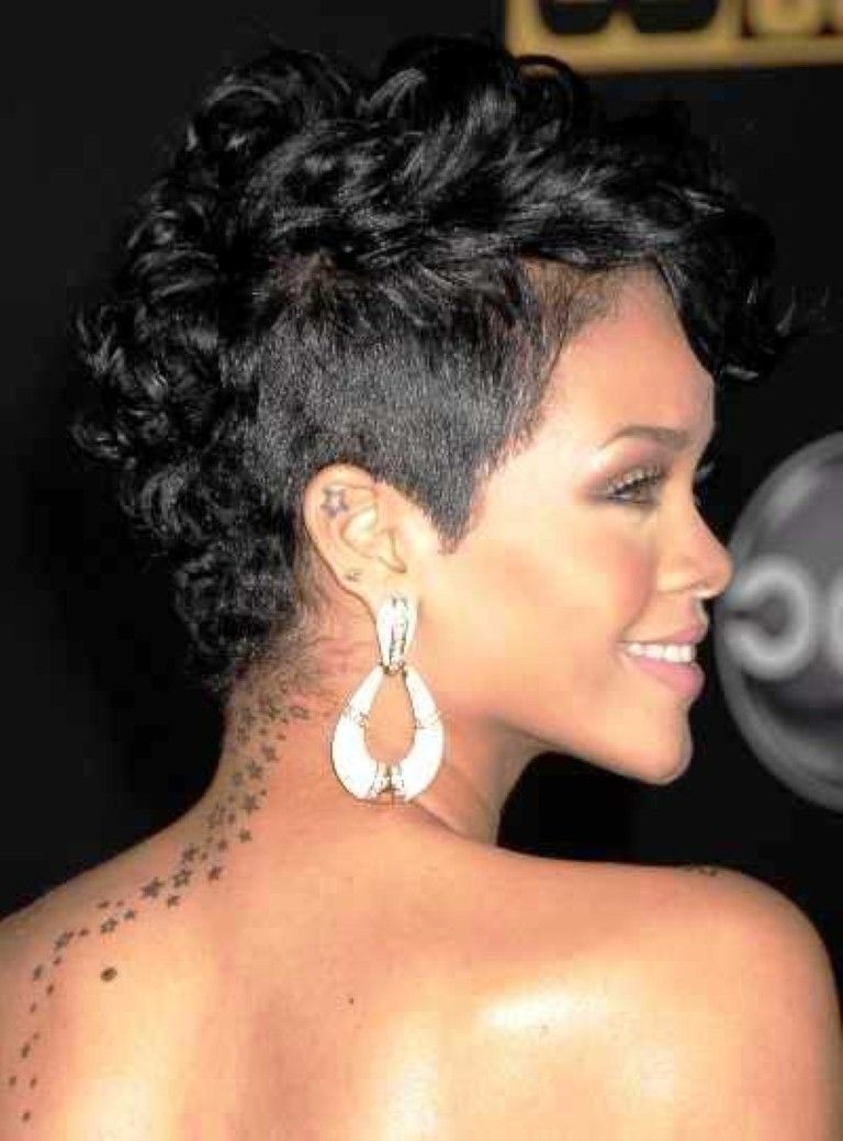 rihanna short curly mohawk hairstyles fashion for curly mohawk