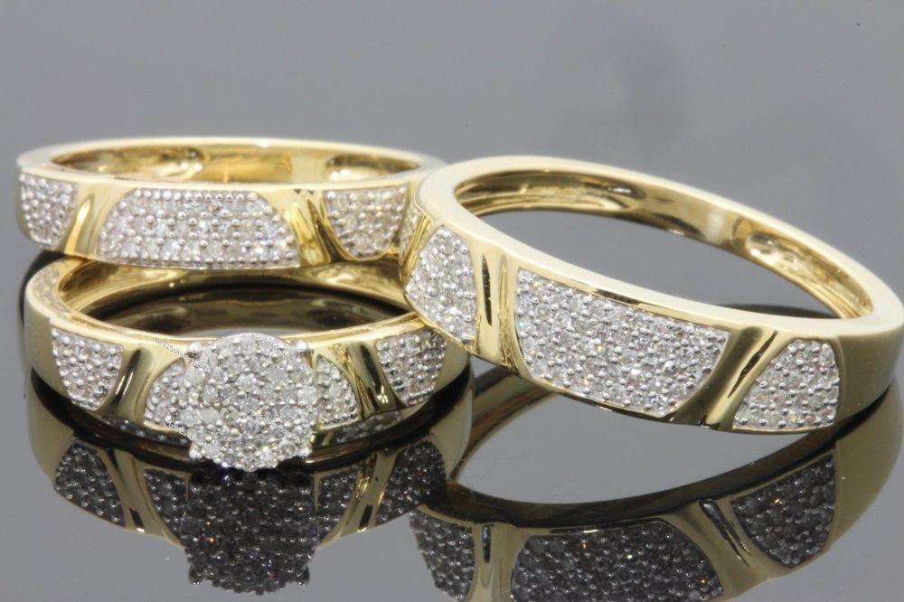 14k yellow gold fn diamond wedding trio his her bridal