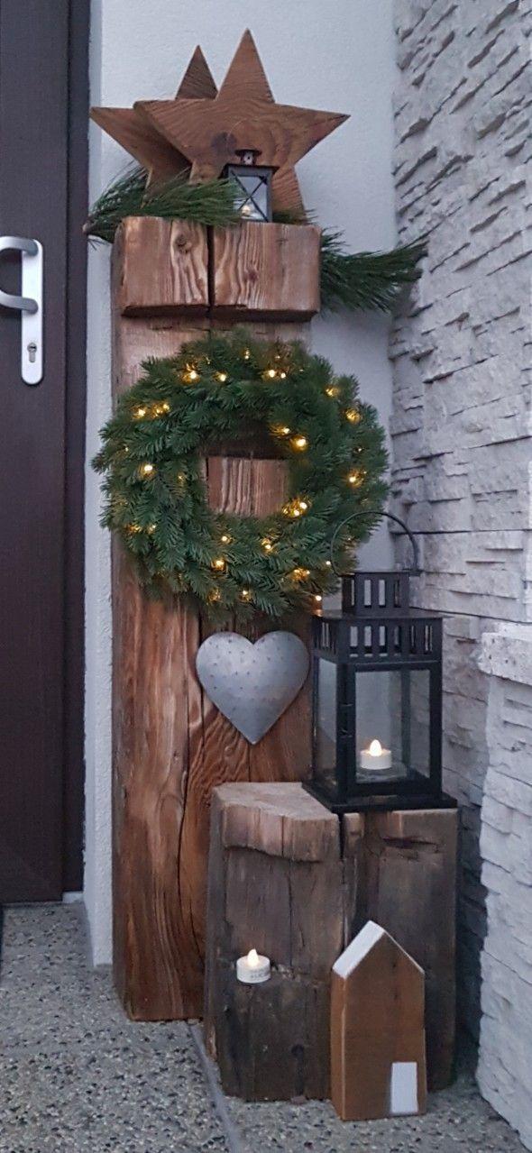 Christmas decoration idea #weihnachtsdekohauseingangaussen - minigarden #weihnachtsdekohauseingang