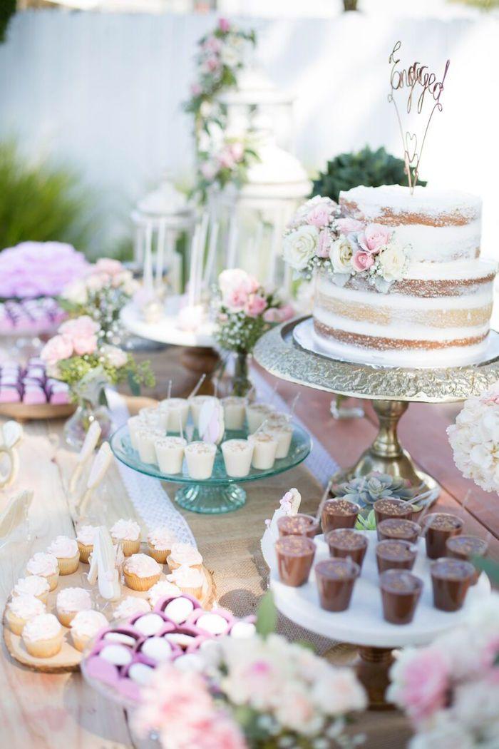 Boho Rustic Chic Engagement Party Bridal Shower Desserts Table Bridal Tea Party Engagement Party Desserts