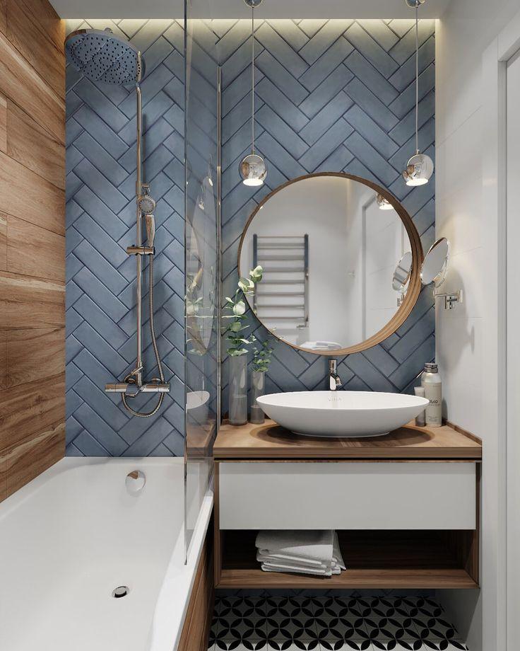 Grey Herringbone Bathroom Tile Badezimmer Badmobel Badezimmermobel Badmobel Set Spiegelschr In 2020 Bathroom Interior Design Modern Bathroom Design Bathroom Design