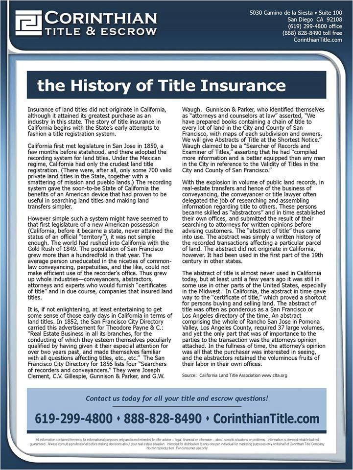 The History Of Title Insurance Carmen Vinti Corinthian Title Https
