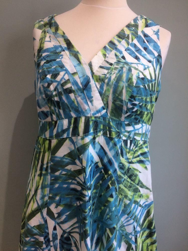 5c9899bfeb885 Stylish stuff! 16 PER UNA cotton lime green aqua white knee length dress   fashion  clothing  shoes  accessories  womensclothing  dresses (ebay link)