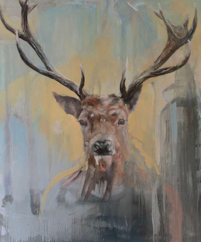 Deer Skull Abstract Watercolor Painting Art Print by Artist DJ Rogers