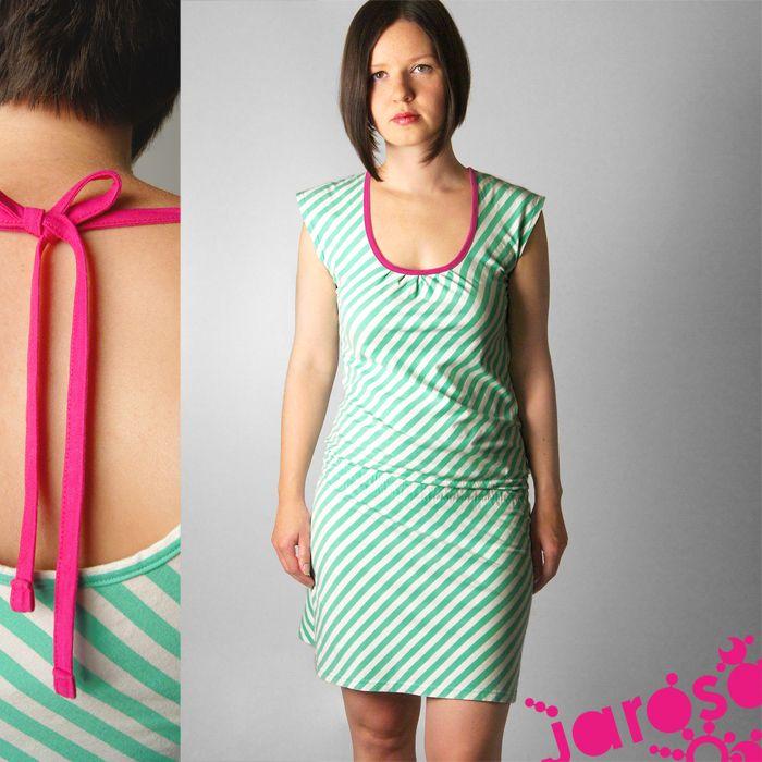 8e3e4027d7 Marina mentol Druhá varianta námořnických šatů Jednoduché šaty efektního a  pohodlného střihu