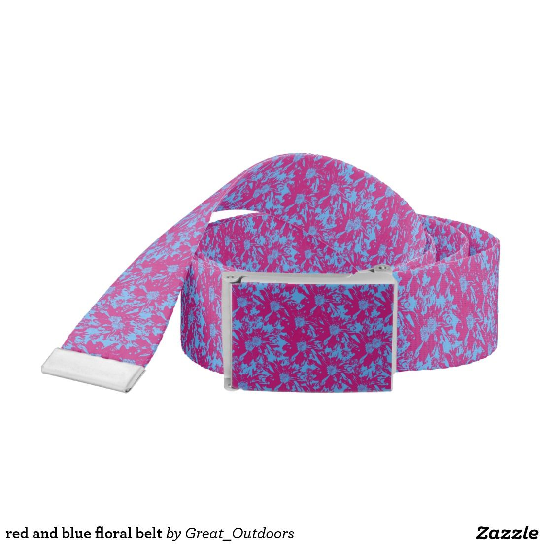 red and blue floral belt