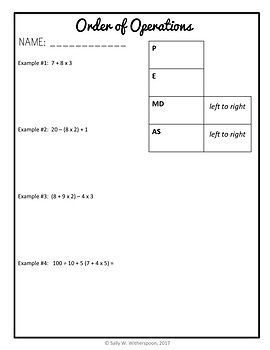 Order of Operations, 5th Grade Lesson Packet + Exit Quiz, 5.OA.1 ...